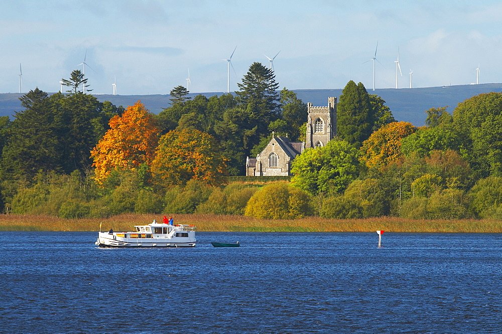 outdoor photo, with a houseboat on the Upper Lough Erne near Crom Castle, Shannon & Erne Waterway, County Fermanagh, Northern Ireland, Europe