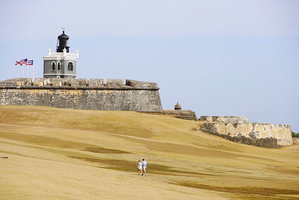 View at Castillo San Felipe del Morro with lighthouse, San Juan, Puerto Rico, Carribean, America