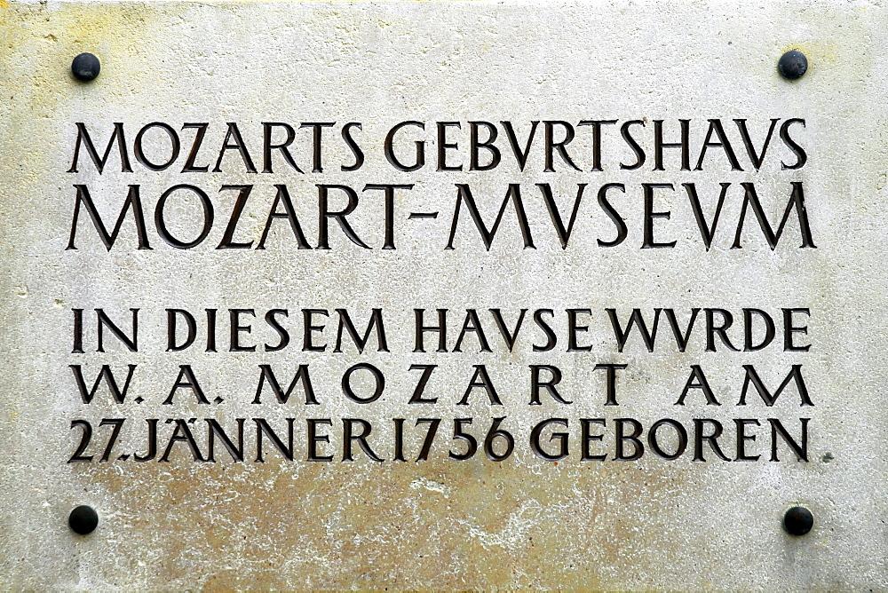Sign, Mozart's birthplace, Getreidegasse, Old Town, Salzburg, Salzburg state, Austria