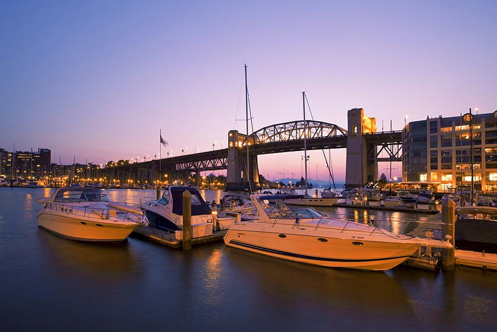 Sunset at False Creek, Burrard Bridge, Vancouver City, Canada, North America