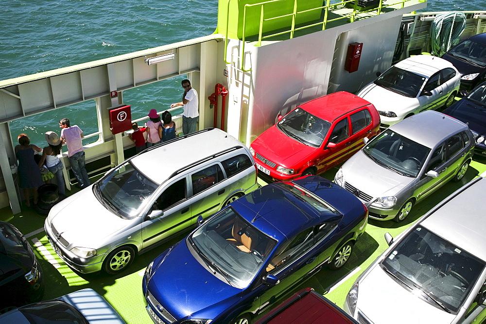 Cars on the ferry from Setubal to Troja, Setubal, Algarve, Portugal