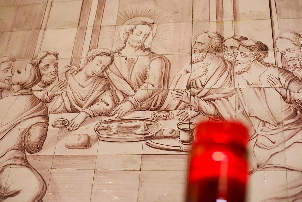 Mural in Alvor church, Jesus Christ at the Last Supper, candle, Alvor, Algarve, Portugal