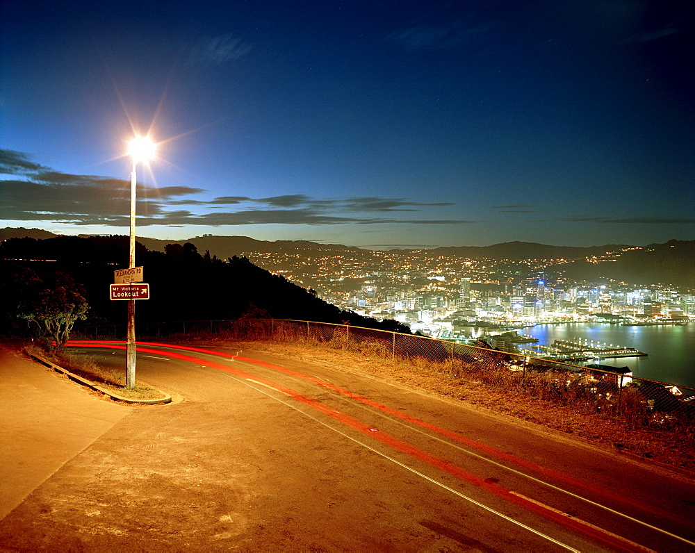 View from Mt. Victoria at Lambton Harbour at night, Wellington, North Island, New Zealand