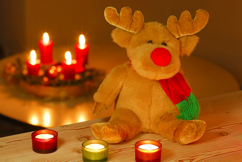 Rudolph the Red-Nosed Reindeer as stuffed animal sitting in front of burning candles, with advent wreath in background