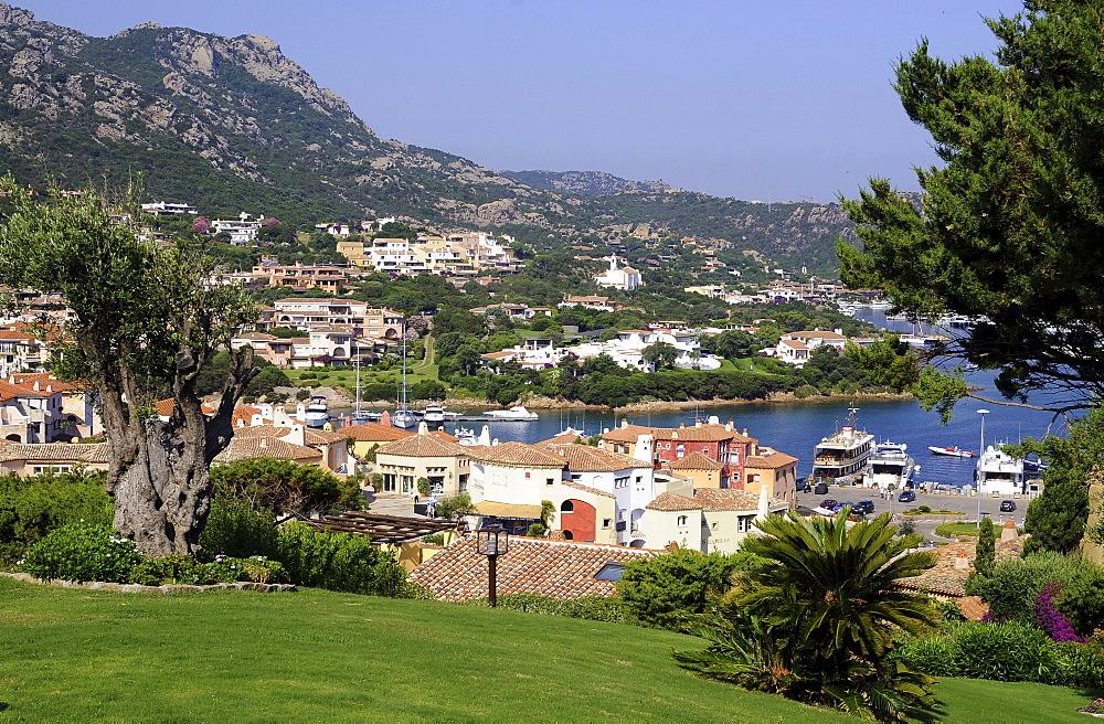 View at the houses of seaport Porto Cervo, Costa Smeralda, North Sardinia, Italy, Europe