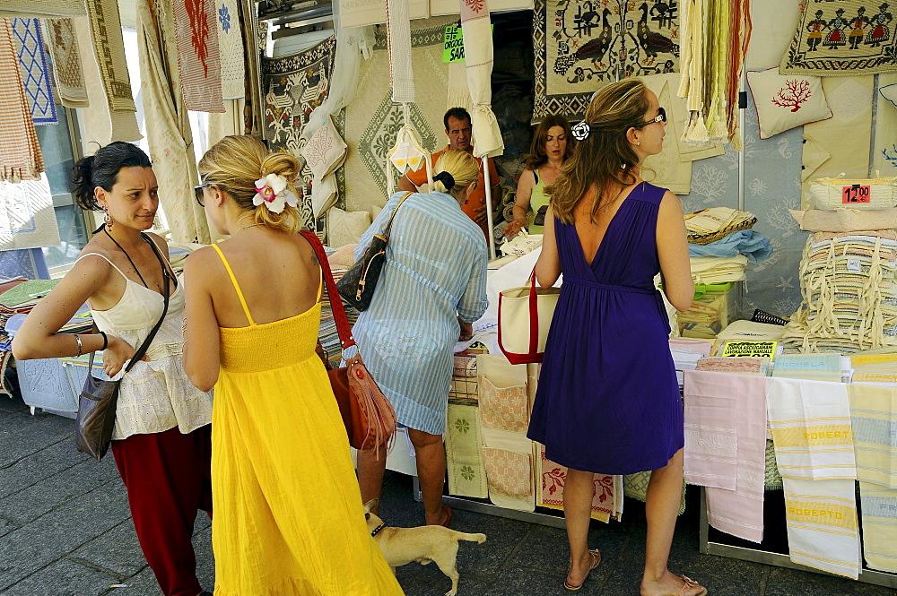 Women at the market at Arzachena, North Sardinia, Italy, Europe