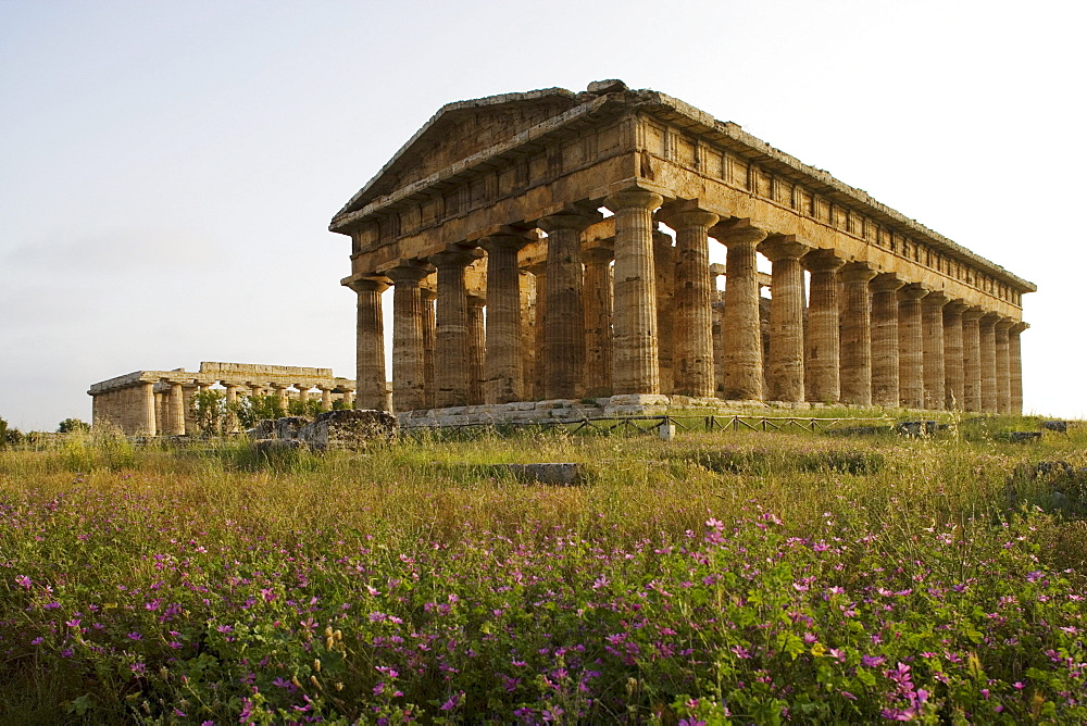 Temple of Hera, dedicated to Poseidon, UNESCO World Cultural Heritiage, Paestum, Cilento, Italy