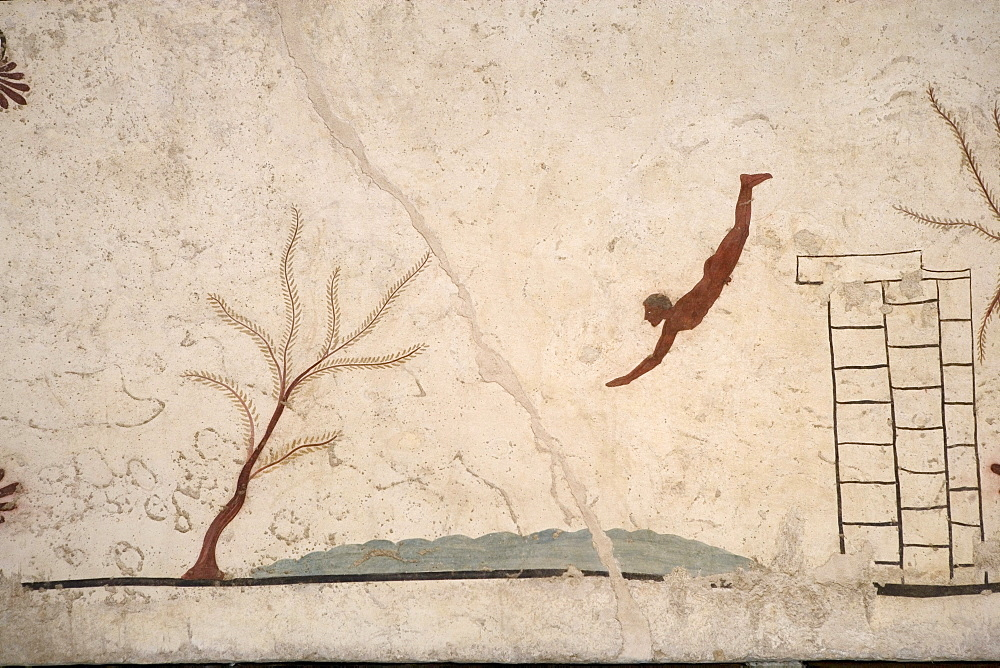 Ceiling painting, Tomb of the Diver in the archaeological museum of Paestum, UNESCO World Cultural Heritage, Cilento, Campania, Italy