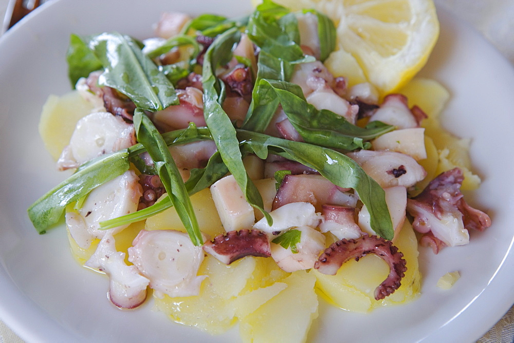 Potato and octopus salad, Cilento, Campania, Italy