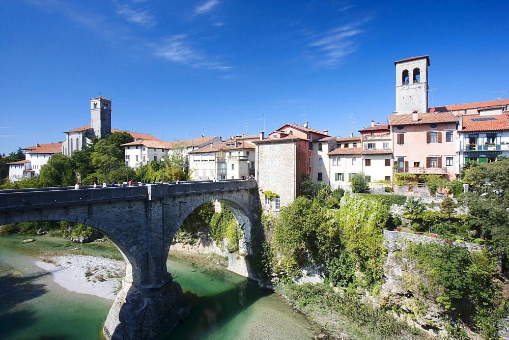 Natisone river with Devil's bridge (15th century, rebuilt in 1918), Cividale del Friuli, Friuli-Venezia Giulia, Italy