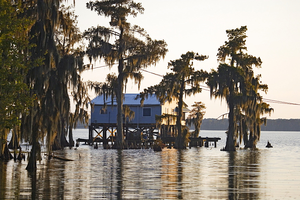 Cabins near Attakapas Landing on Lake Verret, near Pierre Part, Louisiana, USA