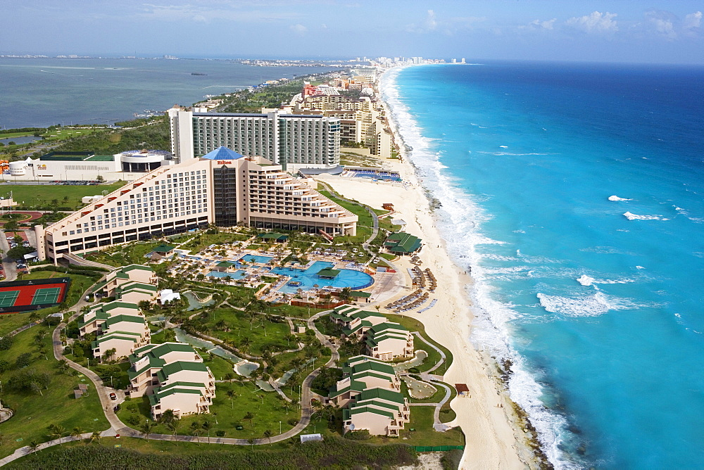 Aerial of the Hilton Cancun Spa Resort in the Zona Hotelera, Cancun, State of Quintana Roo, Peninsula Yucatan, Mexico