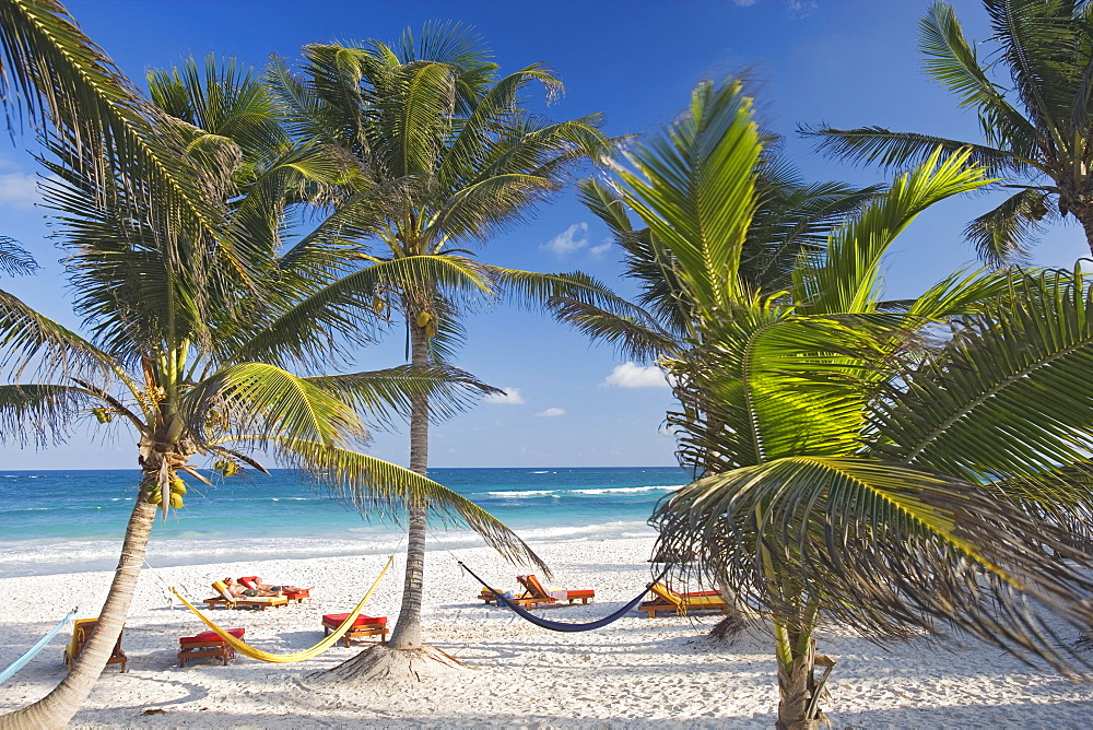 Beach of the Om Tulum Resort in Tulum, State of Quintana Roo, Peninsula Yucatan, Mexico