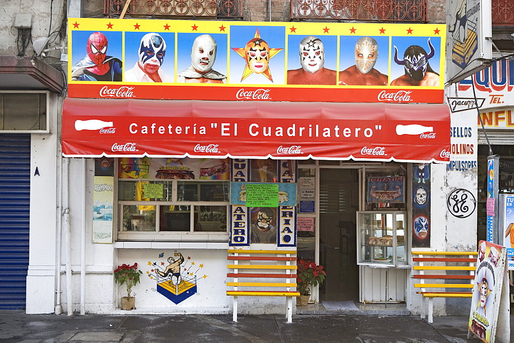 Cafeteria with paintings which illustrate masks of the Lucha libre, district of Alameda, Mexico City, Mexico D.F., Mexico