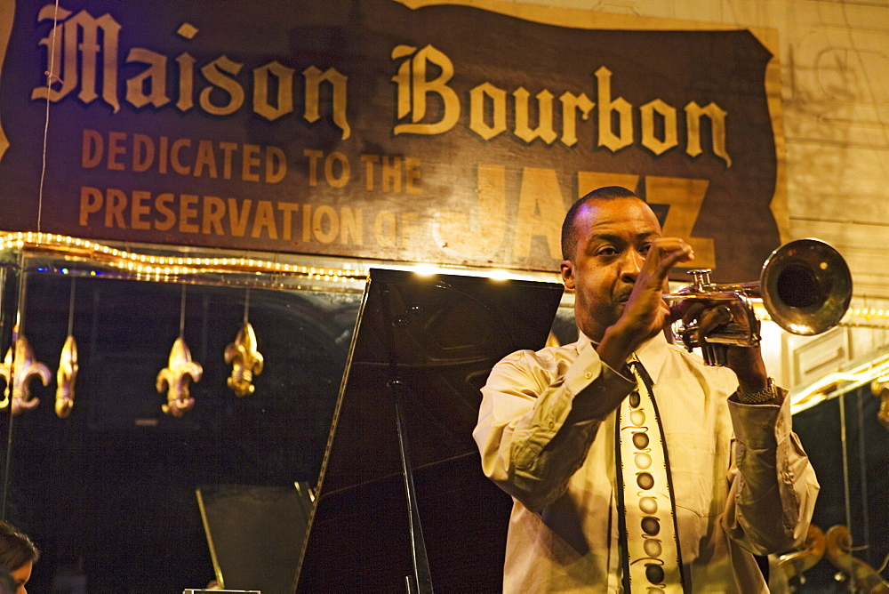 Maison Bourbon is one of the best choices on Bourbon street to listen to Jazz, French Quarter, New Orleans, Louisiana, USA - 1113-12633