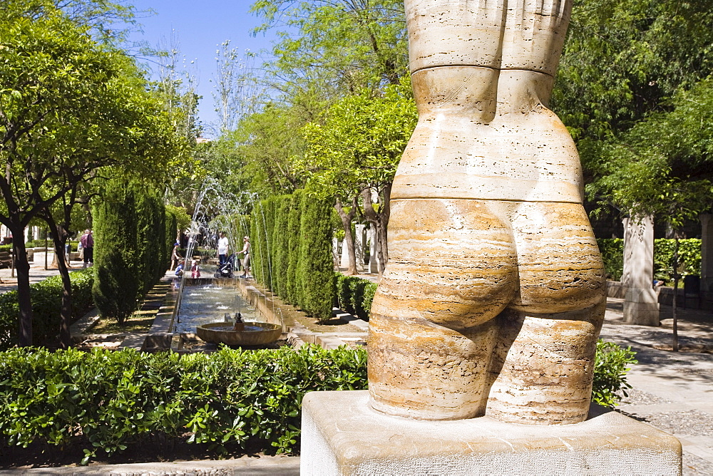 Statue at the park S'Hort del Rei at Palma, Mallorca, Spain, Europe