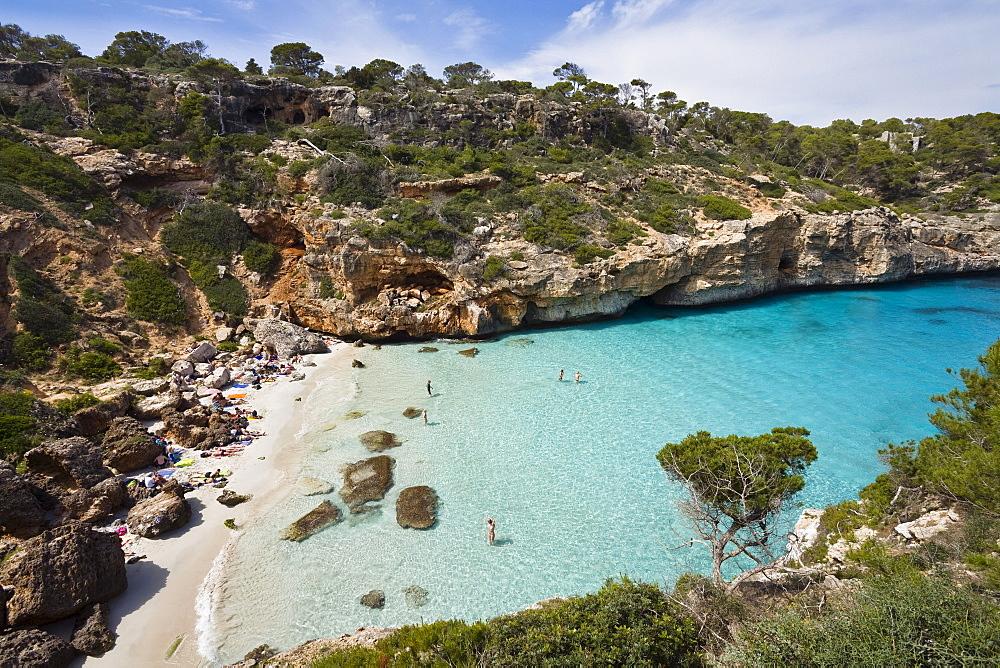 People on the beach in the bay CalÛ d'Es Moro, Mallorca, Balearic Islands, Mediterranean Sea, Spain, Europe