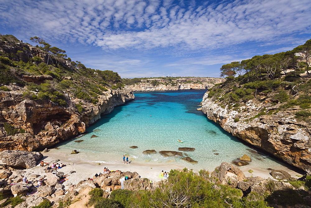 View at beach in the bay CalÛ d'Es Moro, Mallorca, Balearic Islands, Mediterranean Sea, Spain, Europe