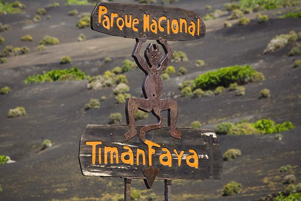 Symbol of the devil on a sign, volcanic landscape, Parque Nacional de Tiimanfaya, Montanas del Fuego, UNESCO Biosphere Reserve, Lanzarote, Lanzarote, Canary Islands, Spain, Europe
