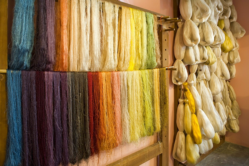 Coloured silk in a workshop, craft, silk weaver, Las Hiladeras El Paso, El Paso, La Palma, Canary Islands, Spain, Europe