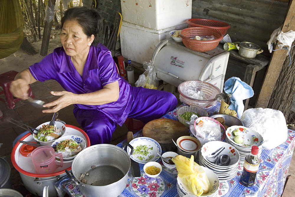 Woman at a cookshop on the street, Mui Ne, Binh Thuan Province, Vietnam, Asia