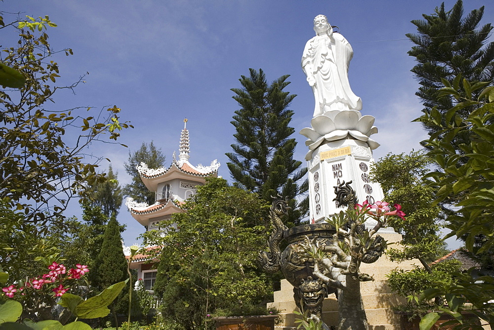 Buddhistic temple with buddha statue, Tra On, Can Tho Province, Vietnam, Asia