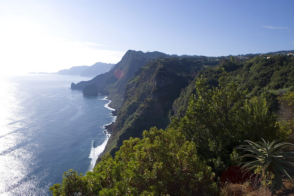 Coastline with waterfall seen from Quinta do Furao Hotel, Santana, Madeira, Portugal