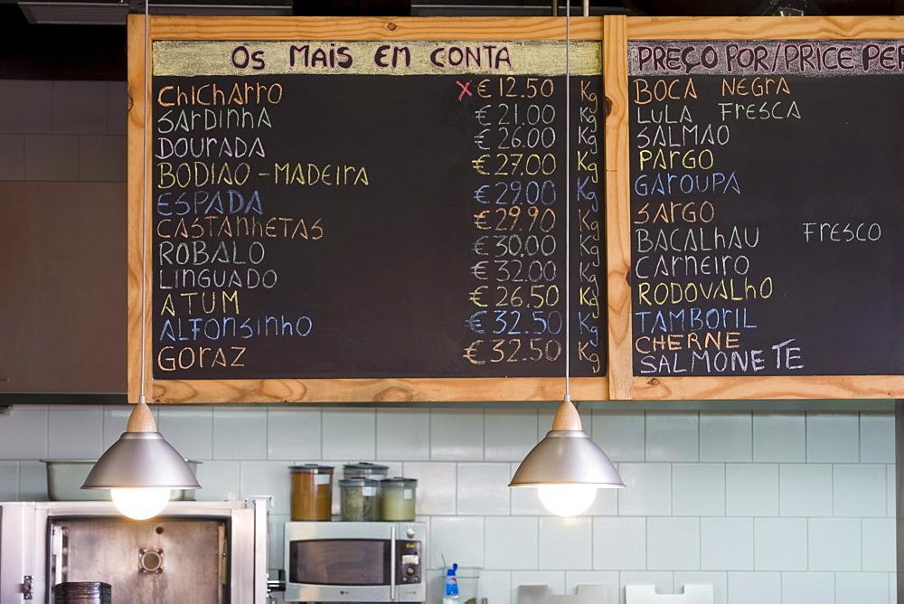 Fish menu in Vila do Peixe Restaurant, Camara de Lobos, Madeira, Portugal