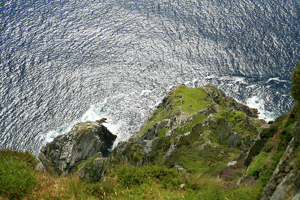 High angle view at rocky coast and ocean, Cliffs of Croaghaun, Achill Head, Achill Island, County Mayo, West coast, Ireland, Europe