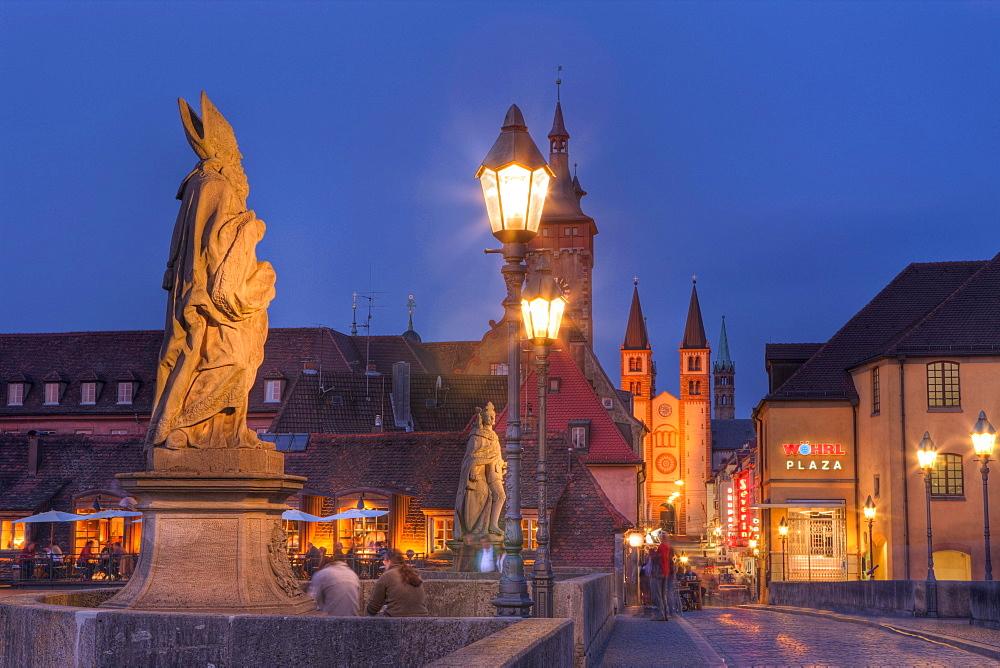 Old Main Bridge at Wuerzburg, Germany, Wuerzburg, Franconia, Bavaria