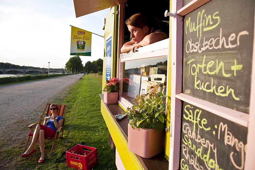 Kiosk near river Elster, Leipzig, Saxony, Germany