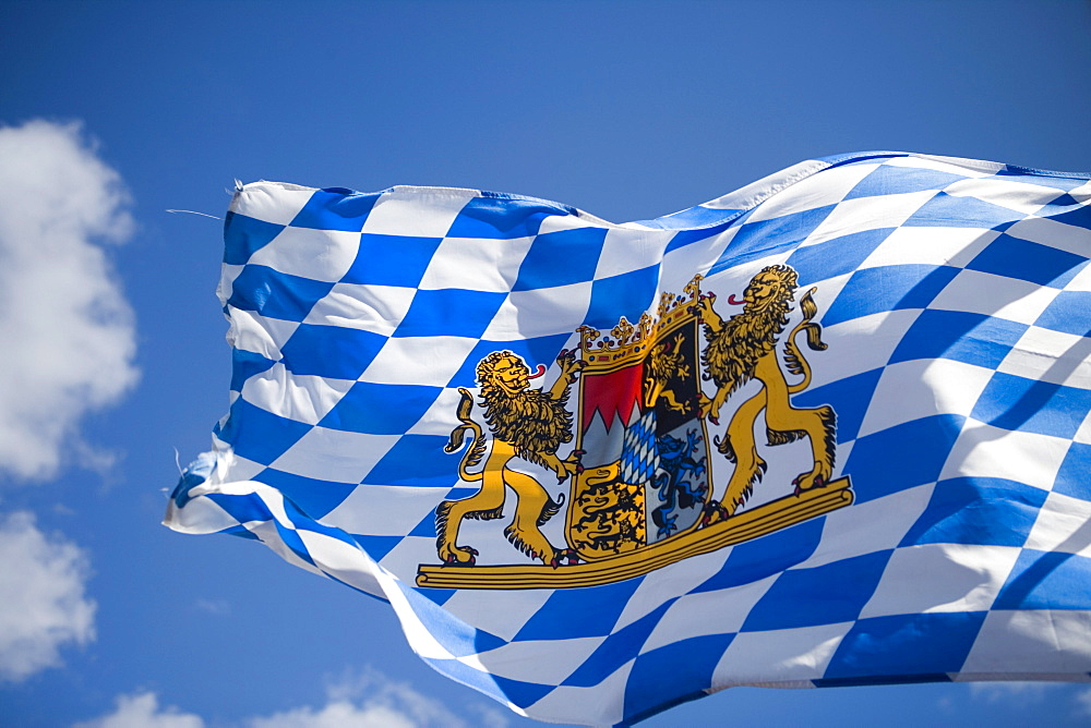 Bavarian Flag blowing in the wind during a Bavarian Theme Party on board Cruiseship MS Delphin Voyager, Bayrischer Fruehschoppen, Atlantic Ocean, near Azores, Portugal, Europe