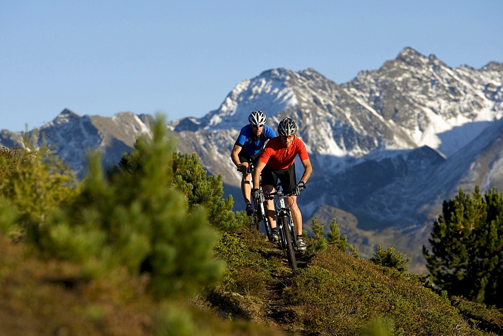Two men mountain biking in mountain scenery, Oetztal Alps, Soelden, Tyrol, Austria