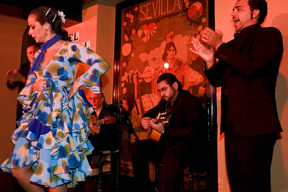 Flamenco dancing in the district El Arenal in Sevilla, Province Sevilla, Andalucia, Spain