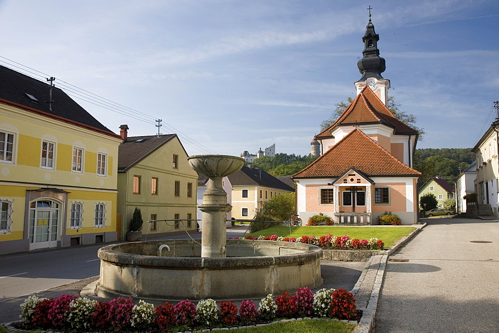 Church with Clam castle in background, Klam, Muehlviertel, Upper Austria, Austria