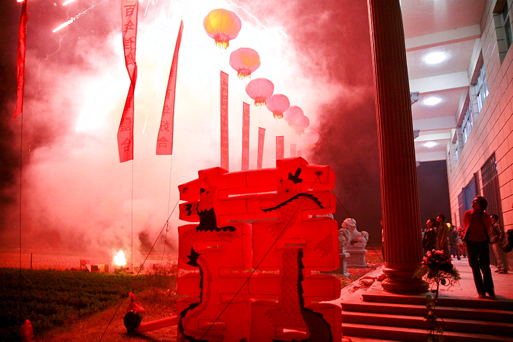 Fireworks at a traditional chinese wedding, Jinfeng, Changle, Fujian province, China, Asia