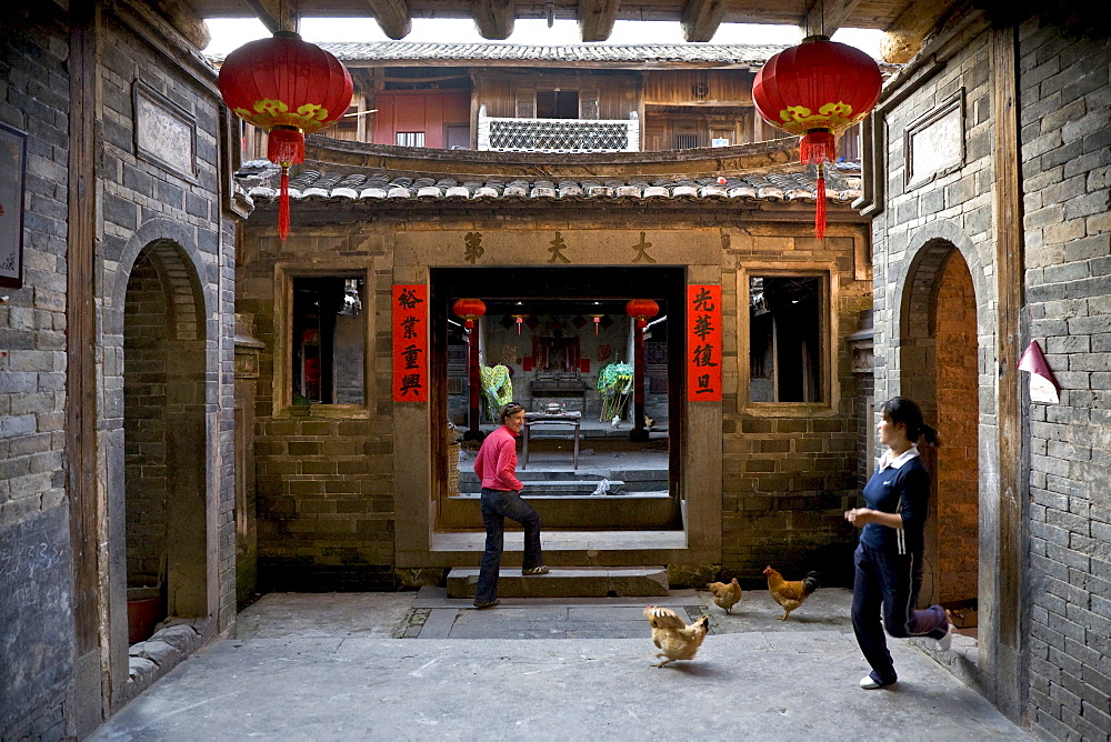 View at the courtyard of a roundhouse of the Hakka, Hongkeng, Longyan, Fujian, China, Asia