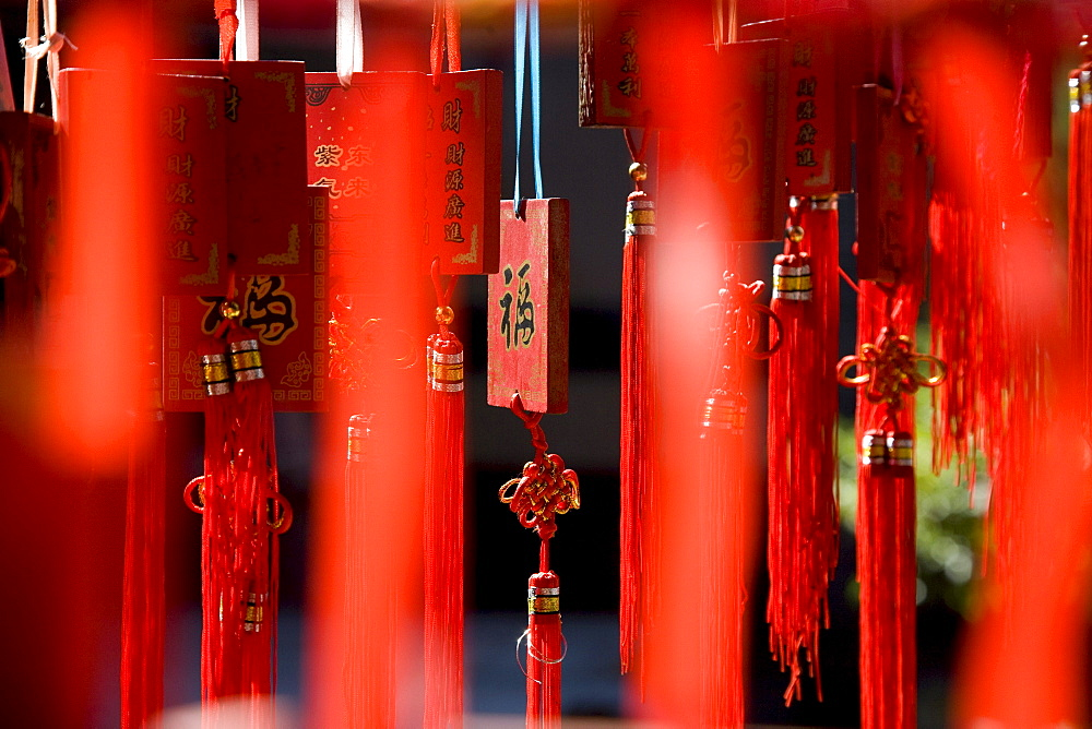 Red wooden talismans at a temple of the Hakka people, Hongkeng, Longyan, Fujian, China, Asien