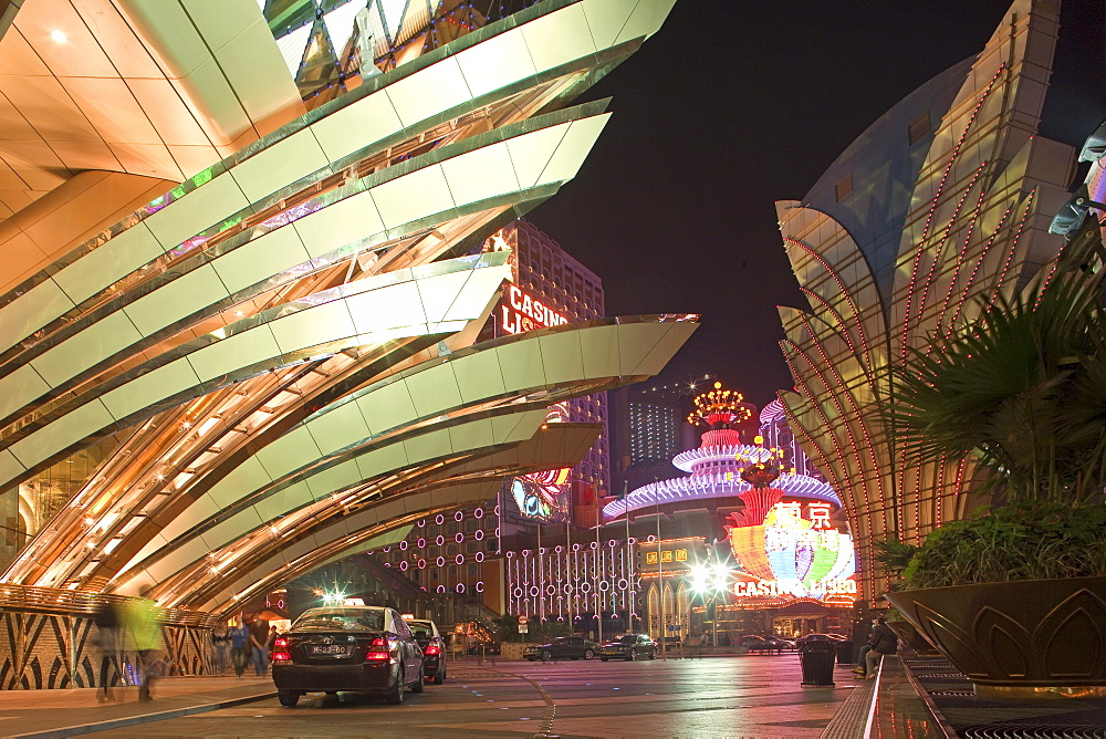 The illuminated Casino Hotel Grand Lisboa at night, Macao, China, Asia