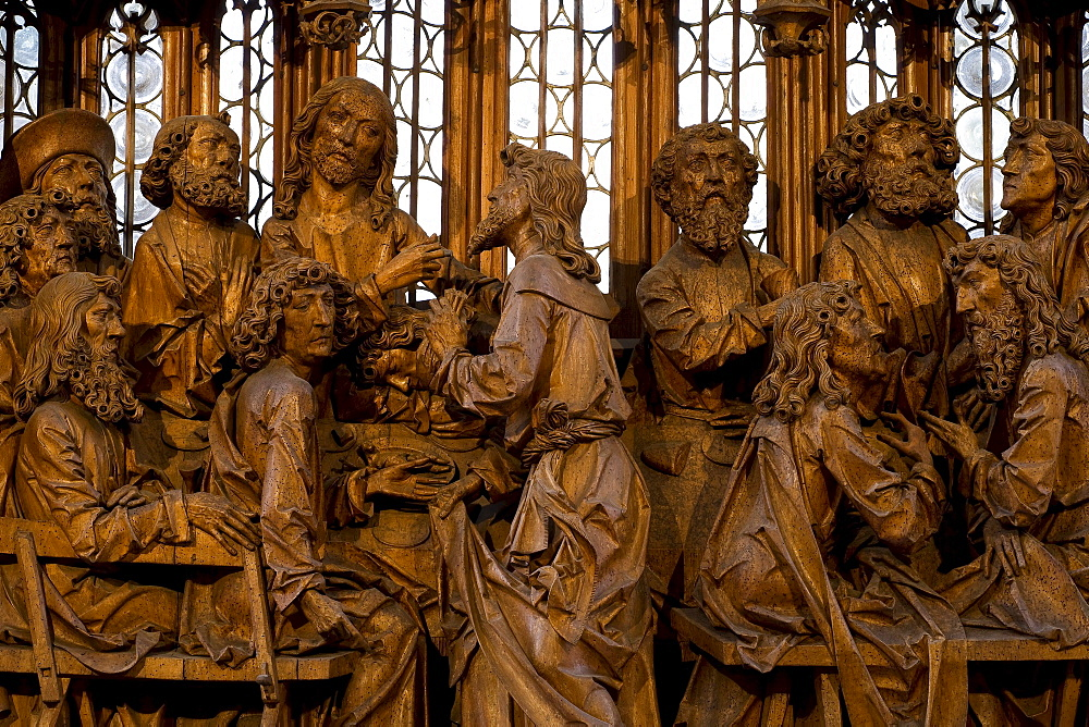 Holy Blood altar piece, detail of the Last Supper from woodcarver Tilman Riemenschneider in St. Jakob's church in Rothenburg ob der Tauber, Bavaria, Germany, Europe