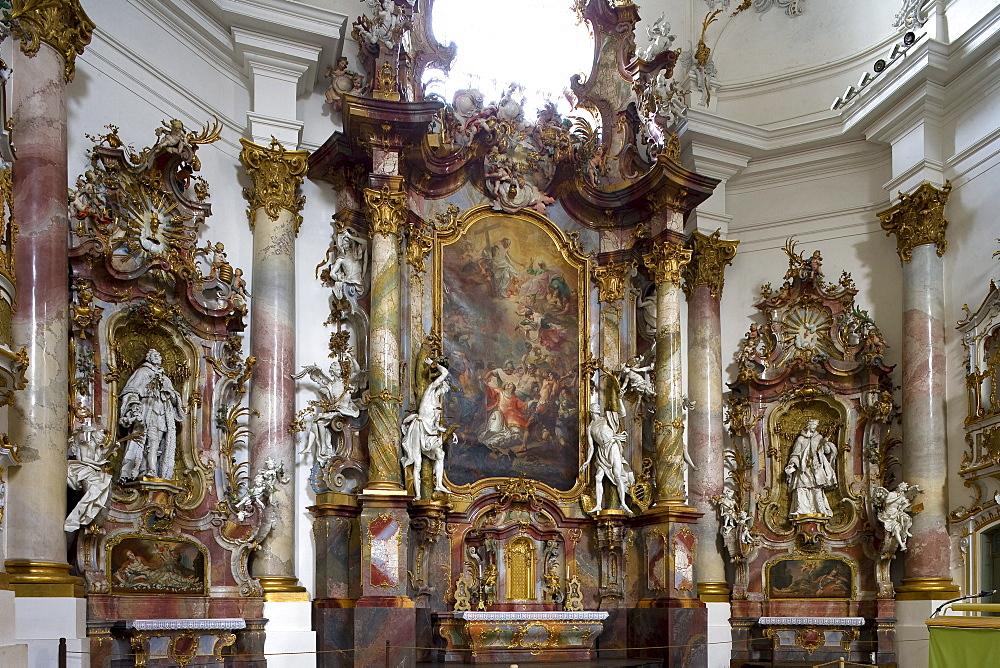 Interior view of Zwiefalten minster, Muenster Unserer Lieben Frau, Zwiefalten, Upper Swabian Baroque Route, Baden-Wuerttemberg, Germany, Europe