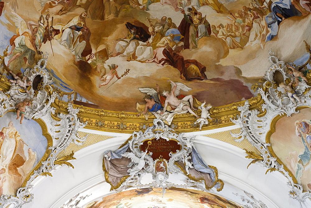Ceiling fresco in the Zwiefalten minster, Muenster Unserer Lieben Frau, Zwiefalten, Upper Swabian Baroque Route, Baden-Wuerttemberg, Germany, Europe