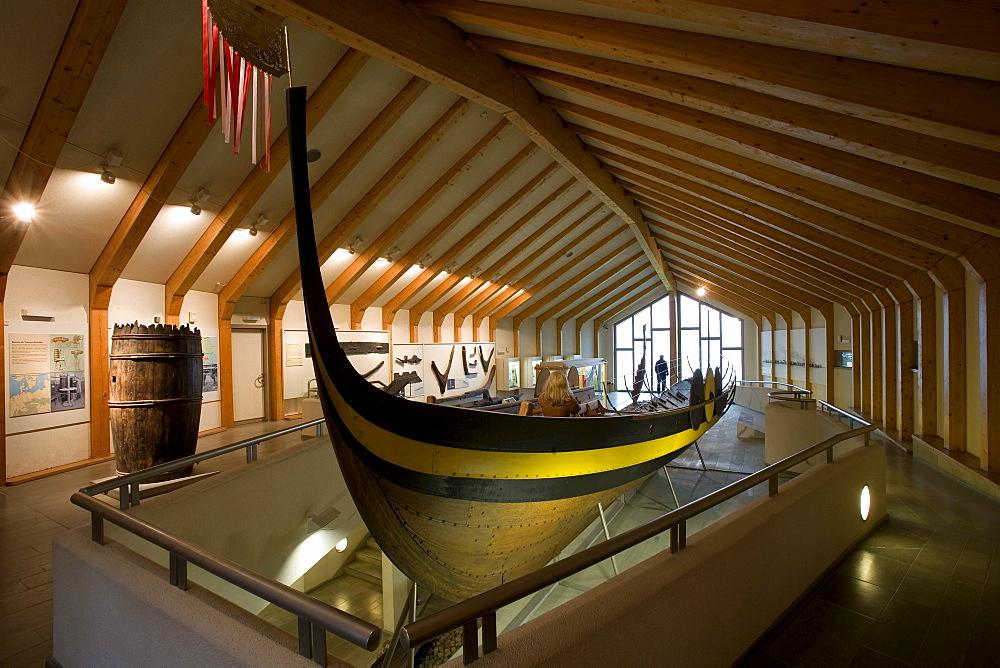 Long-boat at viking Museum Haithabu, near Schleswig, Schleswig-Holstein, Germany, Europe