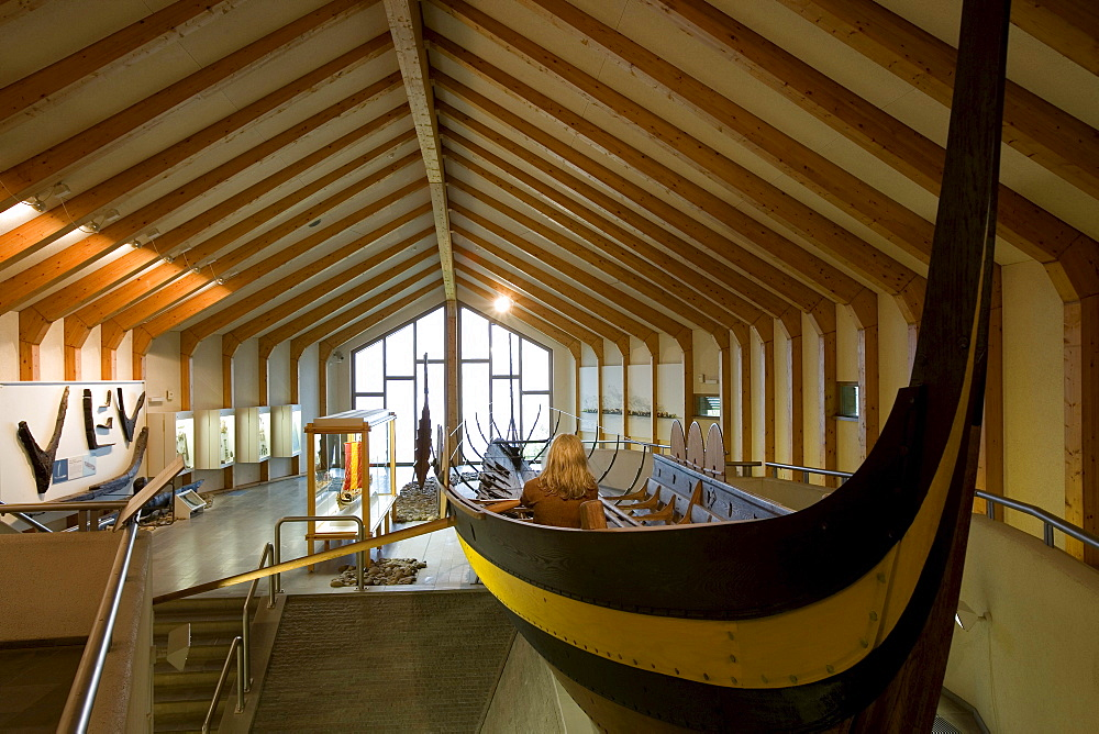Long-boat in the viking Museum Haithabu, near Schleswig, Schleswig-Holstein, Germany, Europe