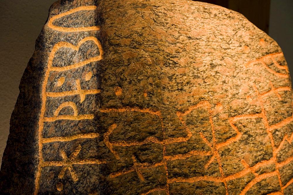 Rune stone at viking Museum Haithabu, near Schleswig, Schleswig-Holstein, Germany, Europe