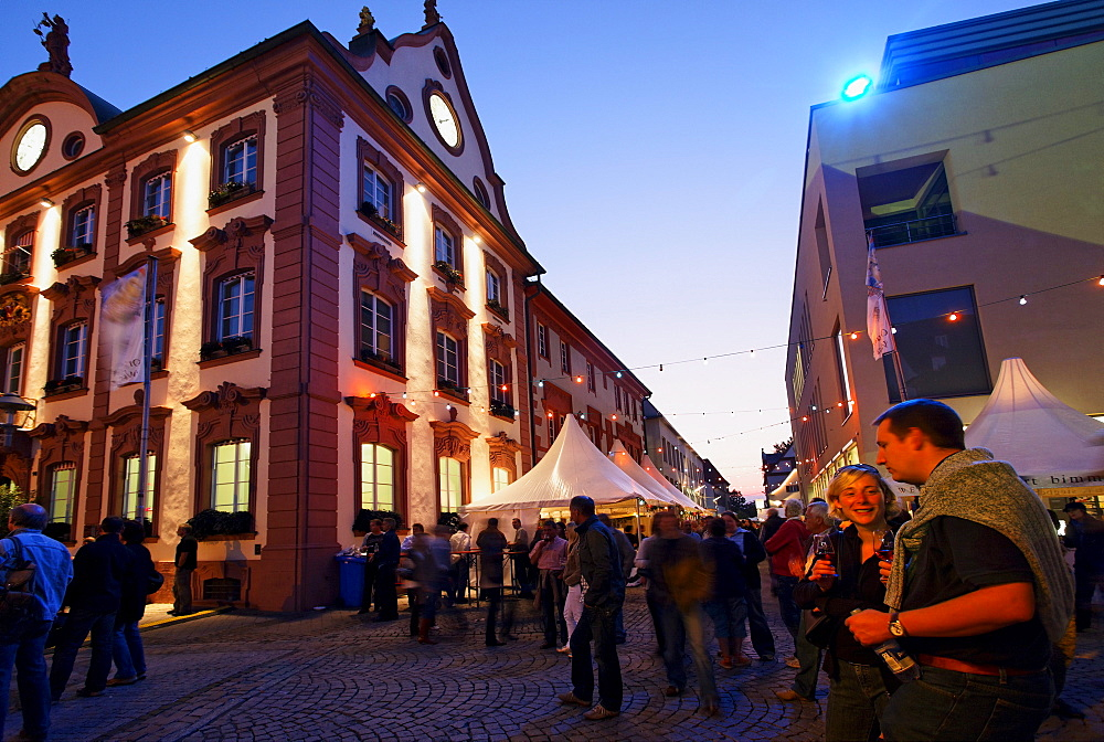 Wine festival, market square, Offenburg, Baden-Wurttemberg, Germany