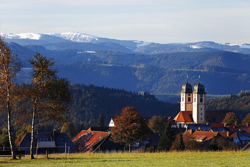 View over Sankt Maergen to mount Feldberg, St. Maergen, Baden-Wurttemberg, Germany