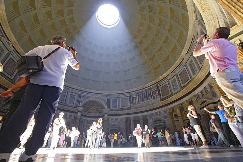 Tourists inside the Pantheon, Rome, Italy, Europe