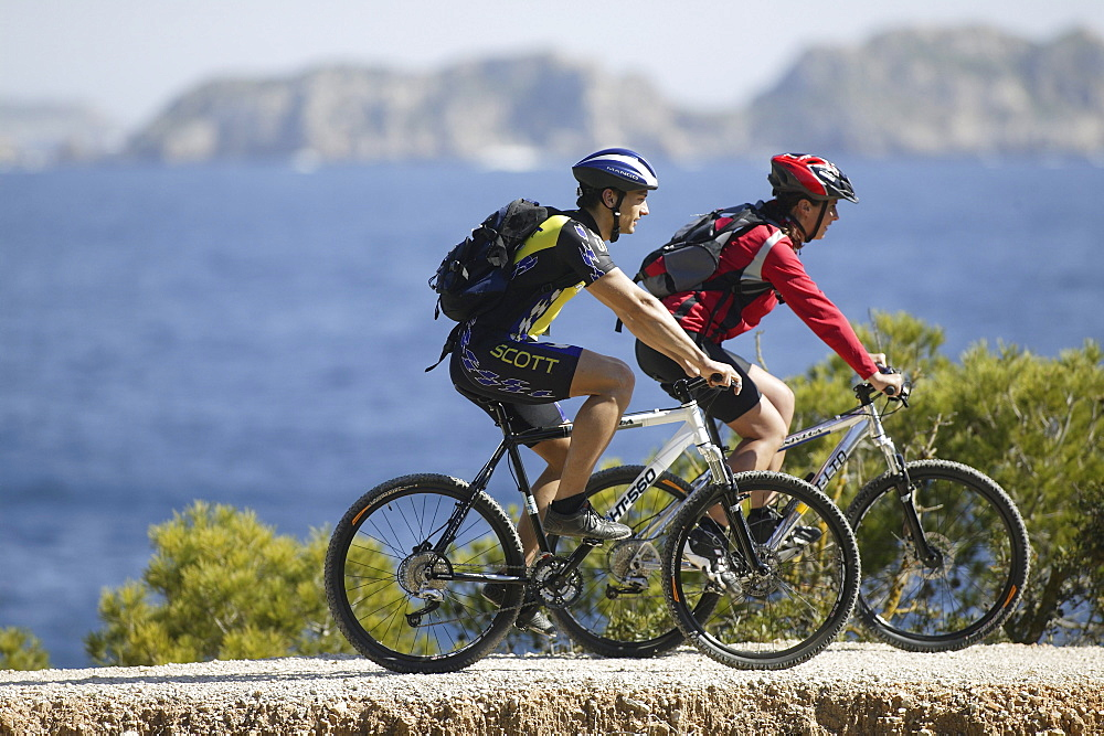 Mountain Biking in the bay of Paguera, Mallorca, Balearic Islands, Spain