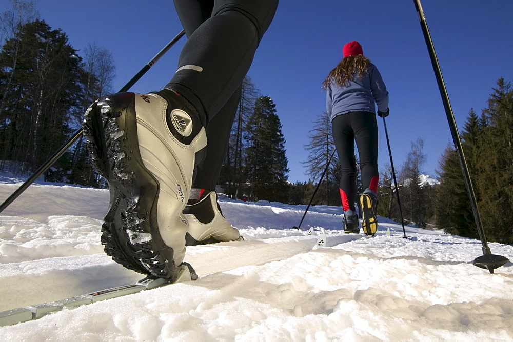 Cross country skiers, Close-up of shoes and binding, Flims, Grisons, Switzerland